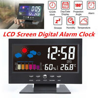 Digital LED LCD Alarm Clock Time Projector Weather Thermometer Snooze Backlight