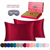 Silk Pillowcase 3 piece Gift Set 100% Pure Mulberry Standard Red