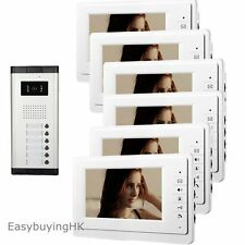 "Apartment 6 Units 7"" Wired Video Door Phone Intercom System with 6 LCD Monitors"