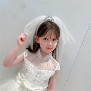 Princess Pearl Crown Bow With Rhinestone Girl Veil Children's Headband Gift