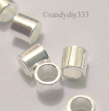 3grams~120pcs BRIGHT STERLING SILVER CRIMP TUBE BEAD 2mm x 2mm (#283)