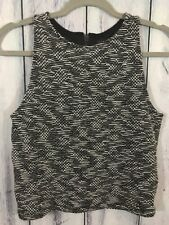 Sanctuary Womens Size Small Shirt Stretchy Sleeveless Black White Design