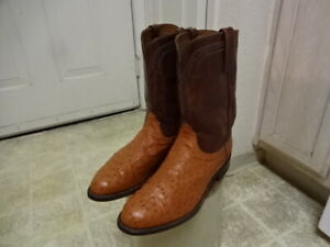 EXCELLENT COND FEW TIMES USED LUCCHESE 2000 OSTRICH WESTERN BOOTS MEN 10.5EE