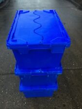 5 X Large Heavy Duty Plastic Moving Storage Lidded Tote Boxes 71x46x34cm 90L ALC