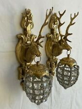 Paire d'appliques tête de cerf en bronze et verre
