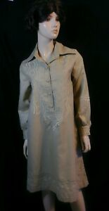 "Vintage BANFF LTD Tan Embroidered Tunic Dress Long Sleeve ""FLAWS""Sz 12"