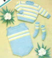 """Vintage Baby Knitting Pattern Striped Romper Sweater & Socks 18"""" - 22  DK"""