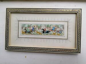 Vintage Persian miniature painting of hunting scene with khatam frame; FREE POST