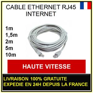 Cable INTERNET ORDINATEUR PC PORTABLE RJ45 RÉSEAU ETHERNET CAT 5E 1 2 5 10m 15m