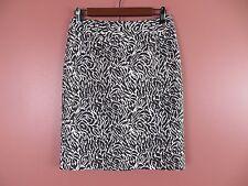 SK06679- NEW ANN TAYLOR LOFT Woman Cotton Silk Pencil Skirt Brown White Sz 4