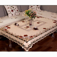 Vintage Embroidered Floral Lace Tablecloth Rectangle Table Cloth Cover Wedding