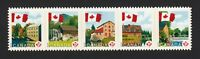 FLAG OVER MILLS = DIE CUT strip of 5 stamps fr booklet Canada 2010 #2355i MNH-VF
