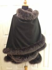 Charcoal grey Cashmere Wool cape wrap with Black Snow Top Silver Fox Fur
