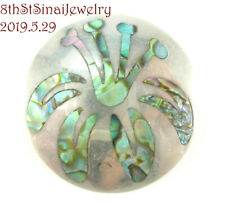 Sterling Silver 925 Pin Brooch Pendant Jh Mexico Stylized Flower Abalone Inlay