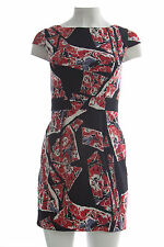 French Connection Women's Riot Red Floral Print Cap Sleeve Dress Sz 2 $158 NWT