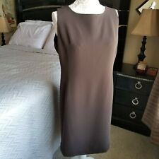 NWOT Laura Scott Brown Lined Casual Career Work Sleeveless Dress Sz 16P *S18