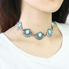 Vintage Bohe Peacock Turquoise Bead Collar Choker Necklace Women Ethnic Jewelry