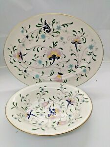 Coalport Bone China Oval Serving Bowl & Oval Platter Pageant Pattern