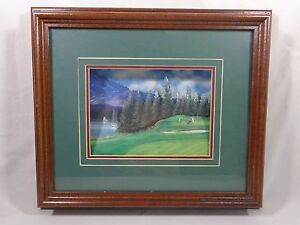 """PAPER TOLE Wall Art GOLF COURSE by Shore 3D Design Green Brown Frame 14.5"""" x 12"""""""