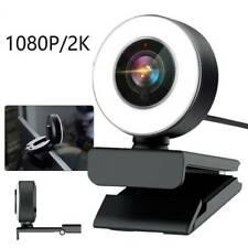 HD Kamera 2K USB 2.0 Webcam Mit Mikrofon Ringlicht für PC Laptop Computer Mac