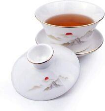 Gaiwan White Porcelain Large Teacup Sancai Tea Cup Set Lid Sun Mountain