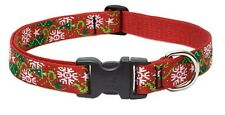 "NWT Christmas Cheer Tree, Snowflakes Red Dog Collar by Lupine 1""  x  12""-20"""