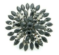 Large Black Glass Rhinestone Flower Burst Silver Tone Pin Brooch Vintage