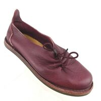 Trippen Women's Flats EU 37**/US 6.5** Burgundy Leather Off-Center Tie Gathers