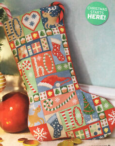 Cross Stitch Chart Only Patchwork Christmas Stocking (c038)