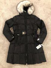 NWT Michael Kors Women's Big Faux Fur Belted Parka Down Jacket Black M L