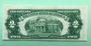 1953 -A $2. UNITED STATES NOTE USN RED SEAL MISALIGNED PRINT CUTTING ERROR