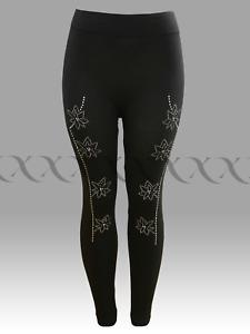 Ladies Women's Black Skinny Flower Diamante Design  Fashion Stretchy Leggings