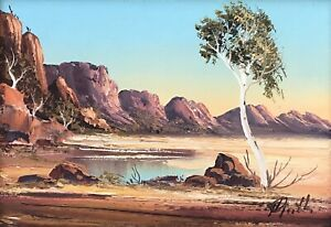 """Original Oil Painting On Board By Henk Guth (1921-2002) """"Outback Ranges"""""""