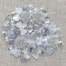 80 Mix Silver Shabby Chic Resin Flatbacks Craft Cardmaking Embellishments