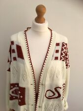 70s 80s 90s Cardigan Ladies Size M/L Cream  Button Up Vintage Grandad Retro