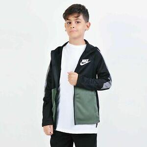 Kids Nike Sportswear Tribute Full Zip Hoodie BV3693 010 Black/Green Size S to XL