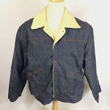 VTG Mint 70's Western Pimp Denim Jean Sherpa Shearling Work Chore Coat Jacket XL