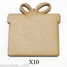 X10 Wooden MDF Christmas Xmas Pesent Shape Plaque & Card Making