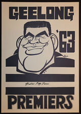 1963 Geelong Premiers Weg Poster signed Polly Farmer Cats Premiership