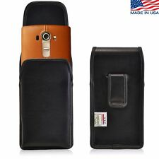 Turtleback Vertical Leather Holster Pouch Black Belt Clip Phone Case For LG G4