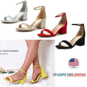 Women's Low Chunky Block Heel Sandals Ankle Strap Open Toe Pump Sandals