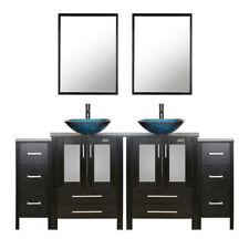 "Bathroom Vanity 72"" Tempered Glass Vessal Sink Small Cabinet Mirror Faucet Black"