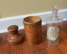 ANTIQUE FRENCH PERFUME BOTTLE in TREENWARE HOLDER - EAU IMPERIALE LEOPOLD PARIS