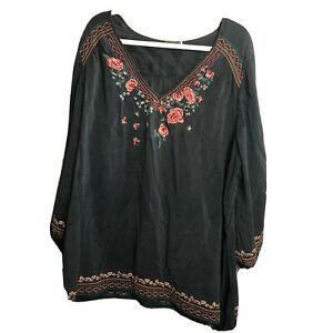 Johnny Was 3x 3/4 Sleeve Floral Embroidered Blouse Top Gray Black FLAWED
