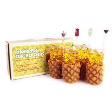 Pineapple VINTAGE 4 Bicchieri Vetro & Titolari Retrò Tazze Set Retrò anni'60 birreria