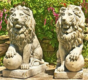 Magnesium Pair of Lion Statues (Set of 2) (Outdoor Safe)