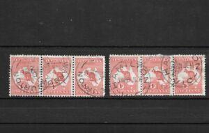 Stamps Australia Bulk 1d Red Kangaroo Strips of 3 x 2 Good /Fine Used (6)