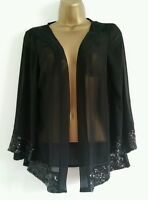 NEW BHS Evening Black Sequin Embellished Xmas Chiffon Kimono Top Blouse 8-16
