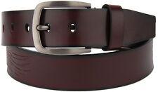 "New Mens Womens Unisex Genuine Leather Belt w/ Buckle Casual Dress Jeans 1 1/2"""
