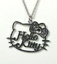 Pendentif Hello Kitty chaîne noeud couleur argenté paillettes